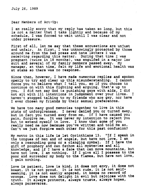 Donna Summer letter to ACT UP, page 1