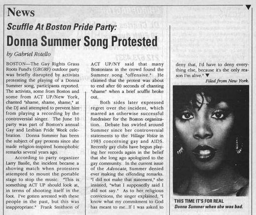 Outweek story on Donna Summer and ACT UP